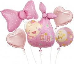 К Набор шаров (31''/79 см) Новорожденный, Малышка Девочка, Розовый, 5 шт. в упак.