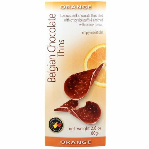 Шоколадные чипсы Belgian Chocolate Thins Orange 80 гр