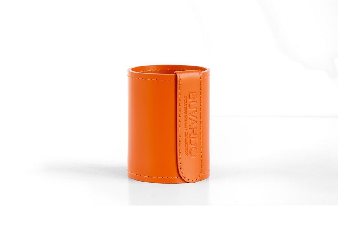 Стакан Н12 кожа Cuoietto (Италия) цвет оранжевый.