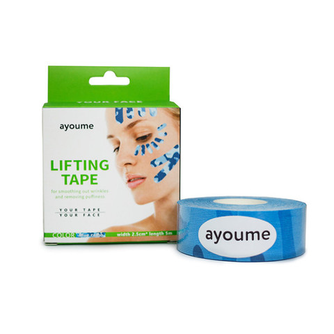 Тейп для лица 2,5см*5м камуфляж голубой  Kinesiology tape roll AYOUME