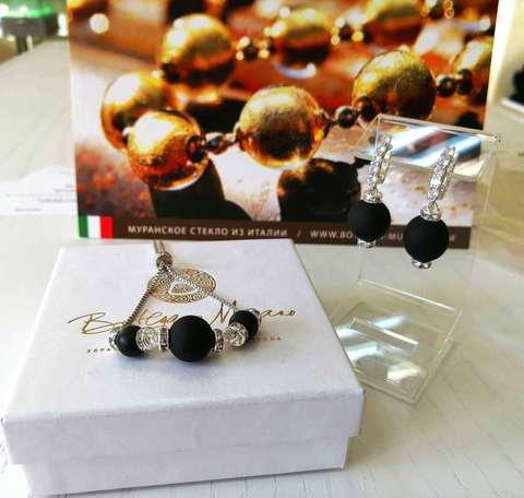 Комплект из браслета и серег со стразами Franchesca Medio цвет Black Matt 064A