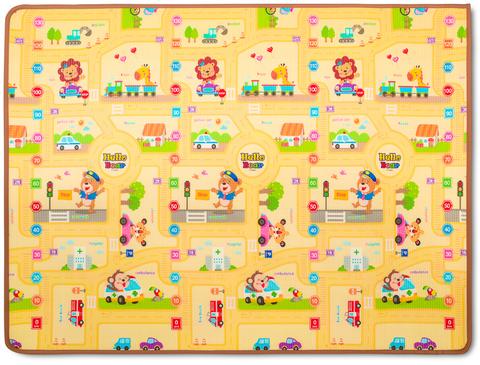 Двухсторонний ПЭТ коврик Prime Living 150 x 200 x 1 см Котики/Веселый город