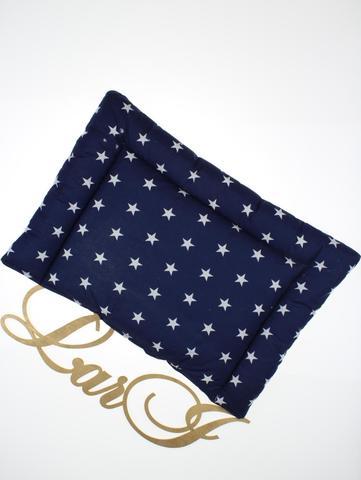 Подушка в кроватку (белый/синий(звездочки), бязь/бязь, (40*50))