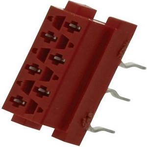 Розетка на плату Micromatch red 6pin (IDC - 1.27мм )