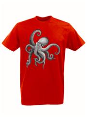 Футболка с принтом Море, Океан, Осьминог (Sea, ocean, octopus) красная 002