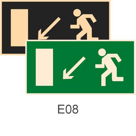 фотолюминесцентные знаки безопасности Е08 Направление к эвакуационному выходу налево вниз