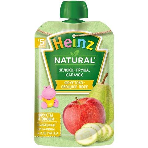 Пюре Heinz яблоко, груша, кабачок, пауч 90 гр. (5+ мес.)