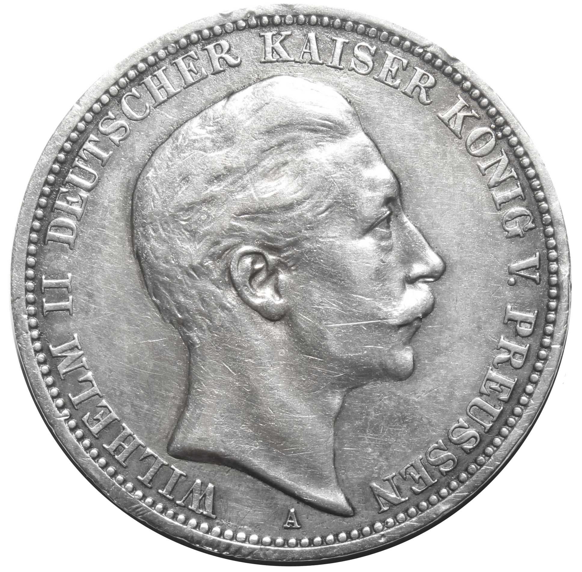 3 марки (A) Германия-Пруссия. 1909 год. XF+