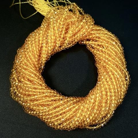 Бусины шпинель (имитация) граненая 2 мм цвет желтый цена за 185 бусин (~37 см)