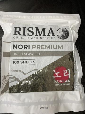 Водоросли сушеные Нори Корея РИСМА  (1/100 шт)  (1/40)