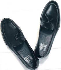 Модные мужские туфли лоферы из натуральной кожи Luciano Bellini 91178-E-212 Black.