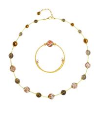 Браслет и ожерелье из муранского стекла белые с золотом
