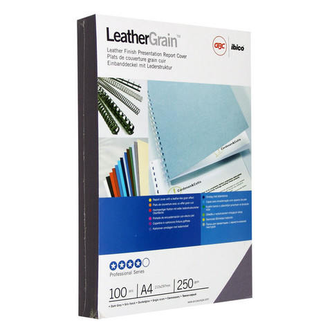 Обложки для переплета картонные GBC А4 250 г/кв.м темно-серые текстура кожа (100 штук в упаковке)