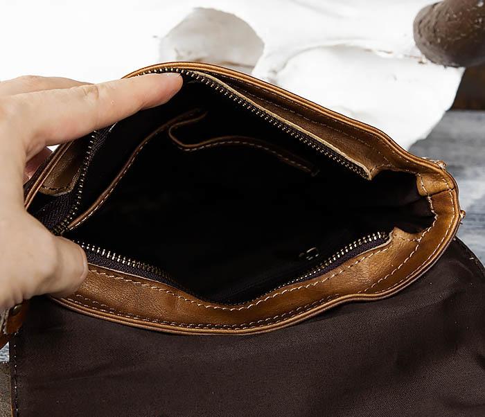 BAG441-2 Мужская сумка из гладкой кожи с ремнем на плечо фото 08