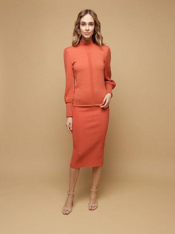 Женская юбка терракотового цвета из шерсти - фото 2