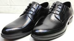 Деловые туфли мужские модные Ikoc 3416-1 Black Leather.