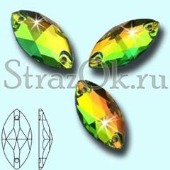 Стразы пришивные стеклянные Navette Rainbow VM, Лодочка Рэйнбоу ВМ многоцветный радужный на StrazOK.ru