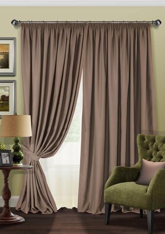 Комплект штор блэкаут с тюлем из полуорганзы Латте бежево-коричневый