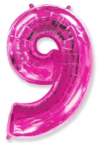 Воздушный шар (40''/102 см) Цифра, 9, Фуше, 1 шт.