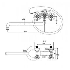 Смеситель KAISER Cross 41055 хром и 41055-1 Bronze для ванны схема