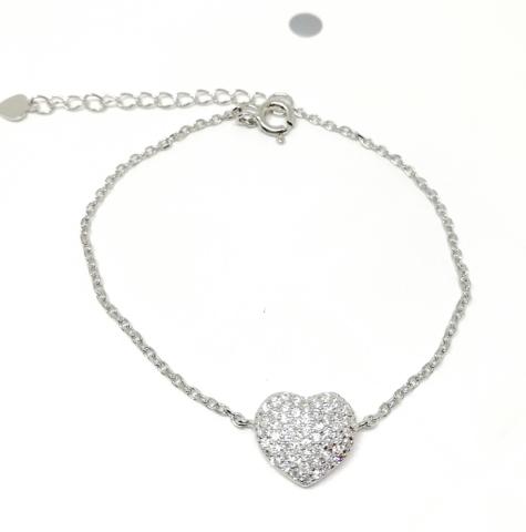 11256- Браслет из серебра с сердечком в цирконах