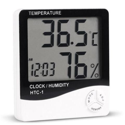 Термометр универсальный цифровой гигрометр, часы  HTC-1
