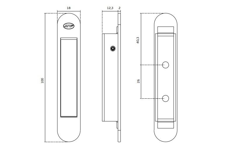 Ручка торцевая IN.16.319 технический рисунок
