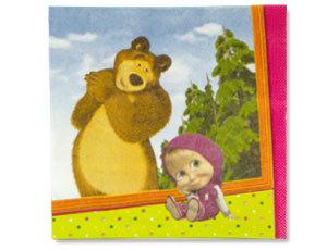 Салфетка Маша и Медведь 25см 12шт