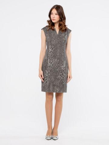 Фото хлопковое облегающее платье-футляр с разрезом на молнии - Платье З170-371 (1)
