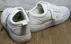 Кожаные кеды женские. Модные летние кроссовки El Passo 820 All White.