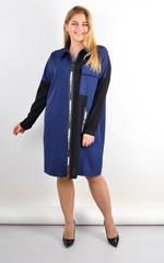 Сабіна. Жіноча сорочка на блискавці великих розмірів. Синій.