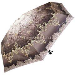 Мини зонтик автомат 3 Слона L4700-J коричневый с золотыми узорами