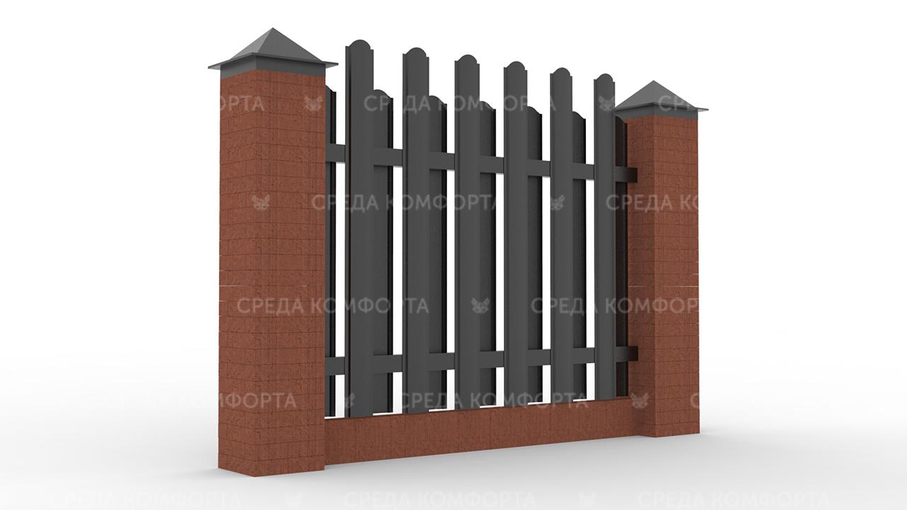 Забор из евроштакетника ZBR0053