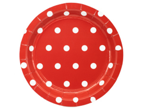 1502-3916 Тарелка Горошек красная 17см 6шт/G