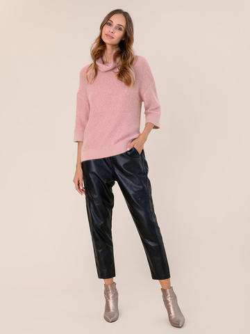 Женский свитер бежево-розового цвета из ангоры - фото 5