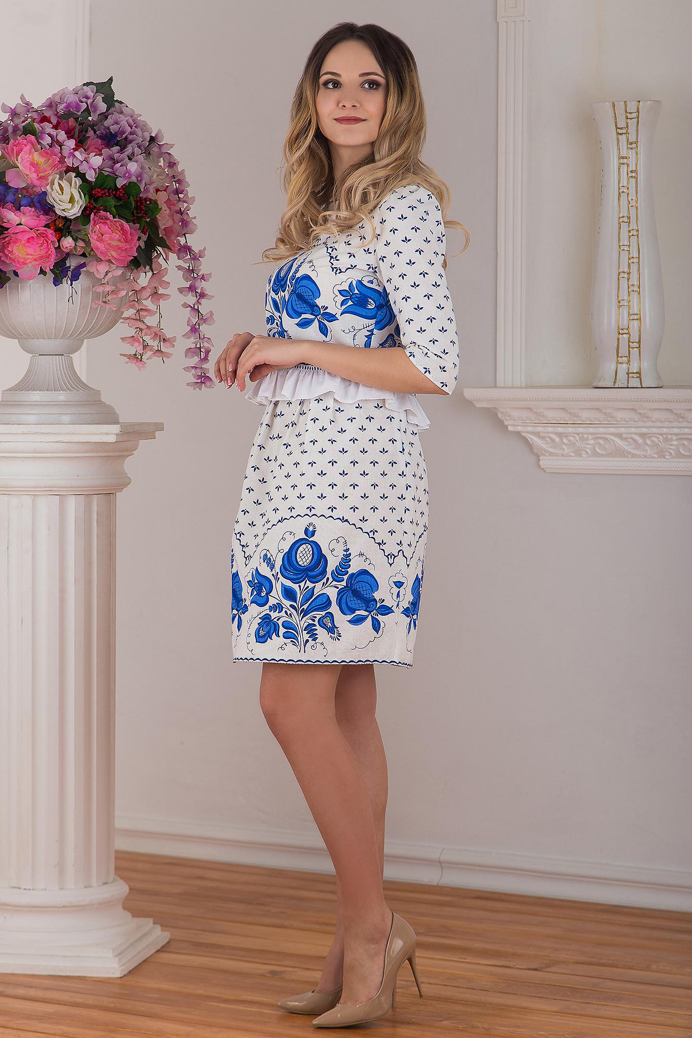 Юбка и блуза в русском стиле Гжель