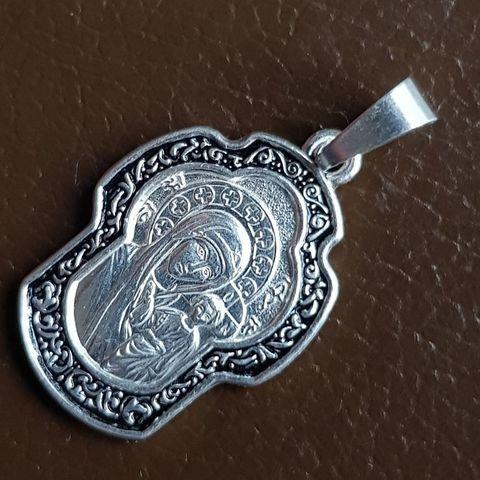 Нательная икона Божия Матерь Казанская с серебрением кулон с молитвой