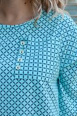 Галактика. Блуза вільного крою великого розміру. Ромб м'ята.