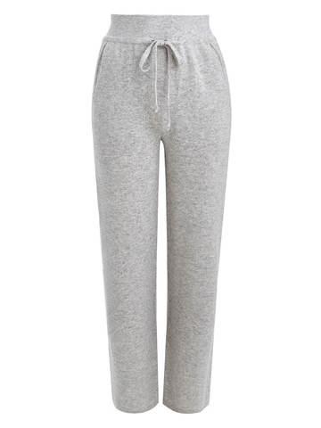 Женские брюки светло-серого цвета из шерсти и кашемира - фото 1