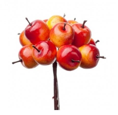 Набор яблок на вставках 12шт., размер: D2,8x2,4xL10см, цвет: красный/оранжевый