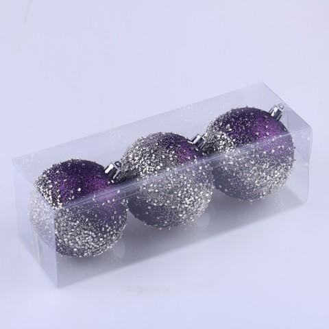 Набор шаров с узором 8см 3шт фиолетовый SYQB-0119245