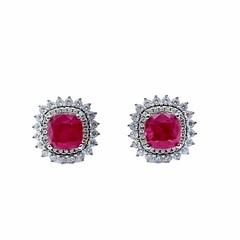 85126 - Серьги-пусеты из серебра с рубиновыми цирконами