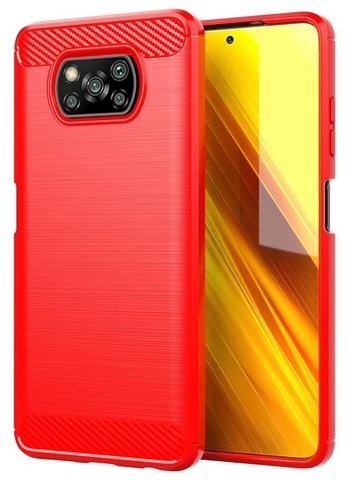 Красный чехол на смартфон Xiaomi Poco X3 NFC, серия Carbon (стиль карбон) от Caseport