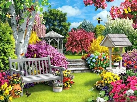 Алмазная Мозаика 40x50 Яркий сад (арт. TCH8163 )