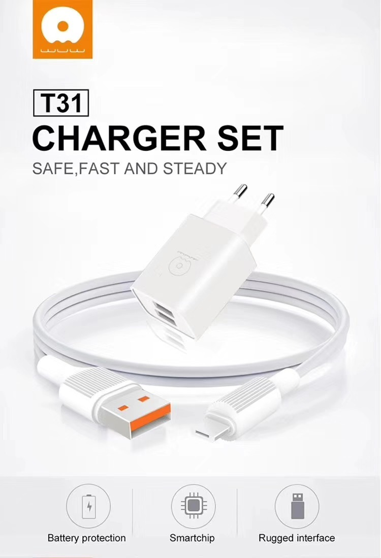 JLW Home Charger WUW-T31 2USB 5V 2.4A + Cable Micro 1M White MOQ:87 (EU) - buy with delivery from China | F2 Spare Parts