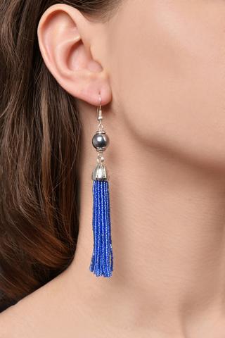 Серьги бисерные синие длинные из 18 нитей
