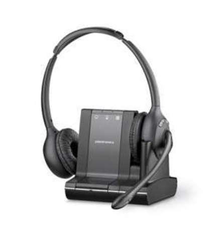 Plantronics Savi (Over-the-head) W720,  — беспроводная (DECT) система для компьютера, мобильного и стационарного телефона в комплекте с электронным микролифтом