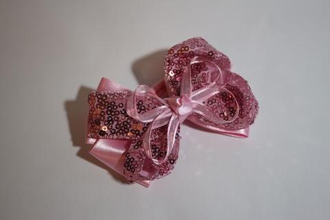 Большой бант с пайетками розовый (арт.1001 роз)