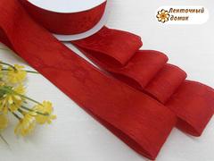 Лента атласная в гипюре красная ширина 38 мм