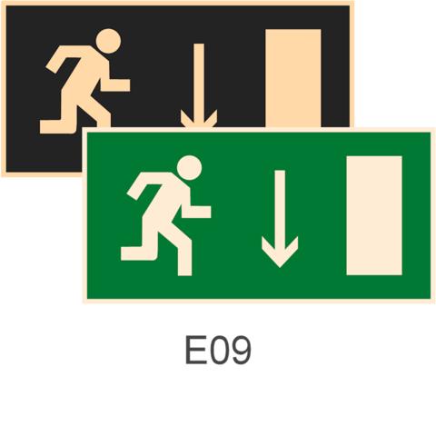знаки фотолюминесцентные эвакуационные Е09 Указатель двери эвакуационного выхода (правосторонний)